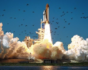 STS-51L - Space Shuttle Challenger at Liftoff - Click for larger version